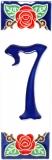 Keramická kachle na zeď - dekorace s číslem 7