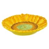 Keramická miska malovaná plochá žlutá slunečnice
