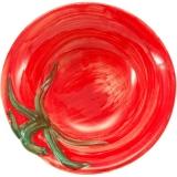 Miska malovaná, dekor rajče 13cm, červená s plastikou