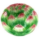 Miska plastický artyčok malovaná, 13cm, zelená, růžová