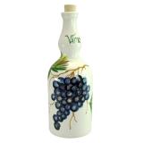 Láhev na víno malovaná hrozny 1L - bílá / modrá