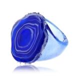 Prsten skleněný JADE modrý-Muráno-Benátské sklo