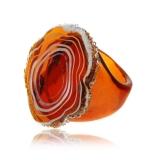 Prsten JADE hnědý-Murano-Benátské sklo
