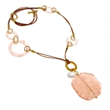 Náhrdelník SUGAR růžový-Murano-Benátské sklo