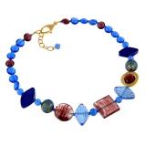 Náhrdelník MIAMI modrofialový-Murano-Benátské sklo