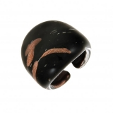Prsten LAGUNA černozlatý-Muráno-Benátské sklo