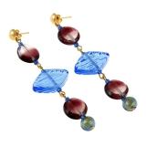 Náušnice modro-fialové MIAMI-Murano-Benátské sklo