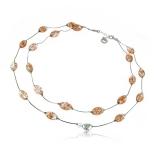 Antica Murrina náhrdelník PANDORA, stříbro - sklo, oranžový
