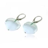 Náušnice stříbro HARMONY šedobílé-Muráno-benátské sklo