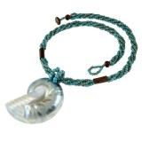 Perleťový náhrdelník - lastura-mořský šnek - modrý