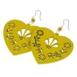 Náušnice dřevěné se stříbrem-srdce-žluté