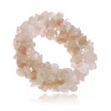 Náramek s drobnými kamínky-křemen s růžovým nádechem, na gumě