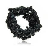 Náramek s kameny- černý achát, kamínky na gumě