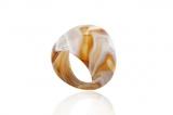Prsten skleněný LAGUNA medová-Muráno-Benátské sklo