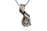 Přívěsek sklo-muráno, fialovo-černo-zlato-stříbrná spirála, avan