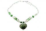 Náhrdelník sklo zelené srdce-Muráno-Benátské sklo