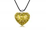 Přívěsek skleněné žluté srdce-Muráno-Benátské sklo