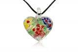 Přívěsek skleněné srdce-Muráno-Benátské sklo