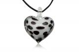Přívěšek muráno-sklo, bílo černé srdce