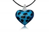 Přívěsek muráno-sklo, skleněné srdce modré