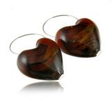 Náušnice stříbro Srdce hnědé-Muráno-Benátské sklo