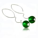 Náušnice stříbro kulička zelená-Muráno-Benátské sklo