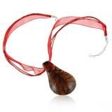 Náhrdelník sklo Slza červená-Muráno-stříbro