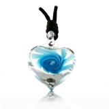 Přívěšek průsvitné srdce 3D s modrou kytkou