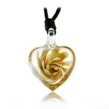 Přívěšek Srdce 3D efekt - jantarová kytka v průsvitném skle