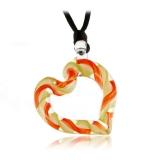 Přívěšek skleněné Srdce oranžovozelené-Muráno-Benátské sklo