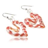 Náušnice stříbrné-Srdce růžové-Muráno-Benátské sklo