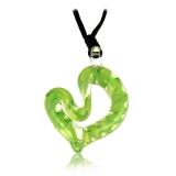 Přívěšek skleněné Srdce zelené-Muráno-Benátské sklo
