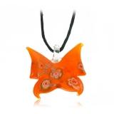 Náušnice skleněné oranžové-Muráno-Benátské sklo