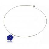Přívěšek skleněná modrá kytička-Muráno-Benátské sklo