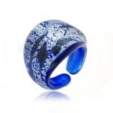 Prsten LAGUNA modrostříbrný-Murano-Benátské sklo