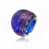 Prsten LAGUNA zlatomodrý-Murano-Benátské sklo
