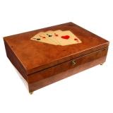 Intarzovaný Poker box, vykládané vzácné dřevo