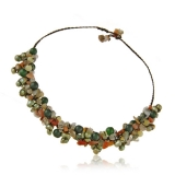 Perlový náhrdelník s kameny-perly, achát, avanturin