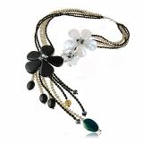 Náhrdelník s kameny-onyx, achát, perleť, křišťál