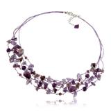 Náhrdelník s kameny-ametyst, křišťál, fialovostříbrné hedvábí