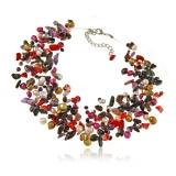 Perlový náhrdelník s kameny - perly, ametyst, jadeit