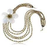 Náhrdelník s kameny-perleť, fasetovaný křišťál