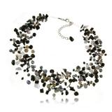 Perlový náhrdelník s kameny - perly, onyx, turmalín, křemen