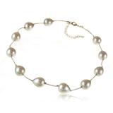 Perlový náhrdelník, mořská perleť 19 mm, šedý