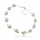Perlový náhrdelník, mořská perleť 22 mm, bílý