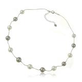 Náhrdelník sladkovodní perly šedé a bílé