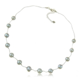 Perlový náhrdelník, perly kulaté šedé 9 mm