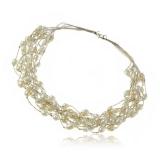 Perlový náhrdelník - perly a stříbrné hedvábí
