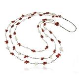 Perlový náhrdelník s kamínky - perly, perleť a křišťál