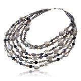 Perlový náhrdelník s kameny- perly a křišťál